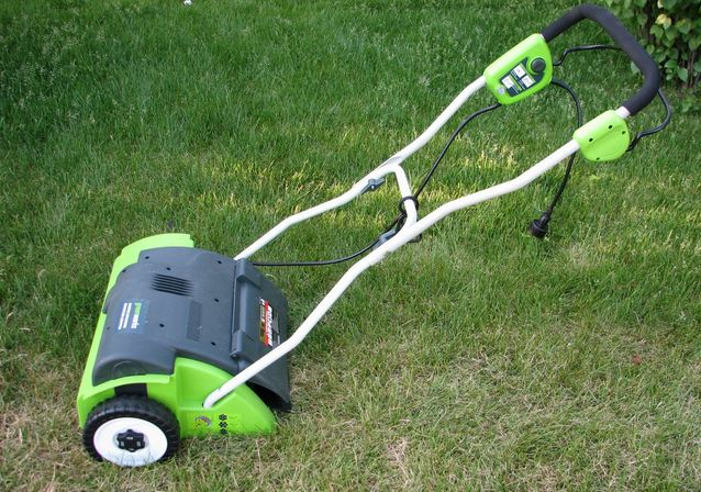 Dethatching a lawn is a lot easier with the Greenworks Corded Dethacher